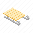 isometric, season, sled, snow, transport, wood, wooden icon