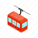 cable, gondola, isometric, lift, mountain, ski, transportation icon