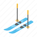 alpine, isometric, mountain, ski, snow, sport, winter icon