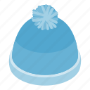 blue, cap, hat, isometric, warm, winter, wool icon