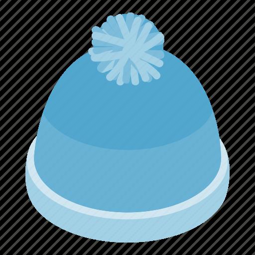 blue, cap, hat, isometric, warm, winter, wool icon