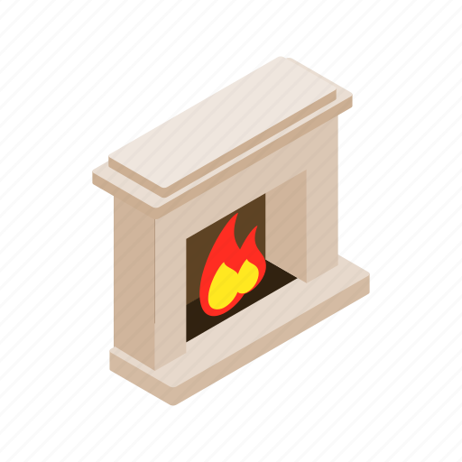 fire, fireplace, home, house, interior, isometric, room icon