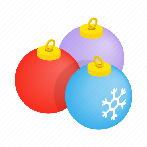 ball, blue, christmas, decoration, holiday, isometric, tree icon