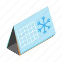 calendar, date, isometric, month, snowflake, winter, year icon