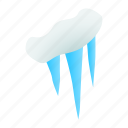 cold, ice, icicle, icy, isometric, snow, winter icon