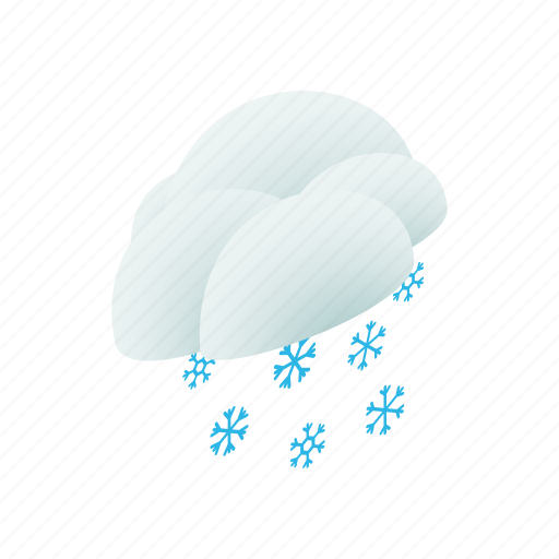 blue, cloud, isometric, sky, snow, snowflake, winter icon