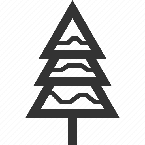 pine, snowy, tree, winter icon