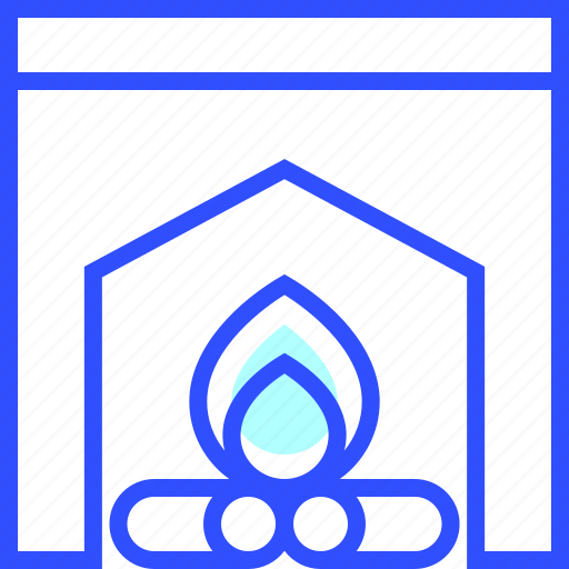 cold, fireplace, holiday, season, winter icon