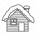 house, isolated, line, nature, outline, snow, wooden icon