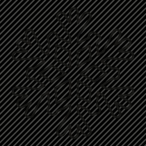 ice, isolated, line, outline, season, snow, snowflake icon