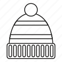 hat, isolated, line, outline, warm, winter, wool icon