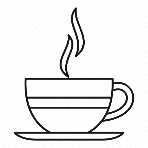 breakfast, coffee, cup, isolated, line, mug, outline icon