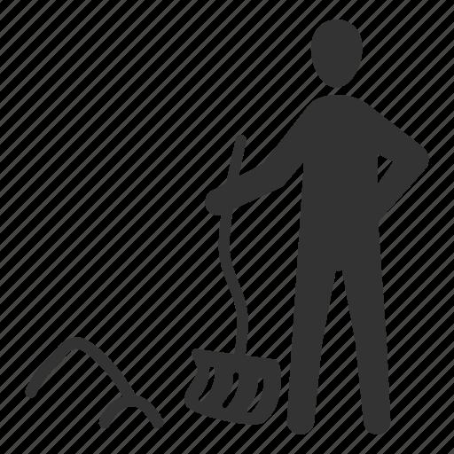 cleaning, shoveler, shoveling, snow, snow shovel, sweep, winter icon