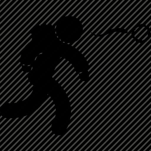activity, man, people, running, snow, snowball, winter icon