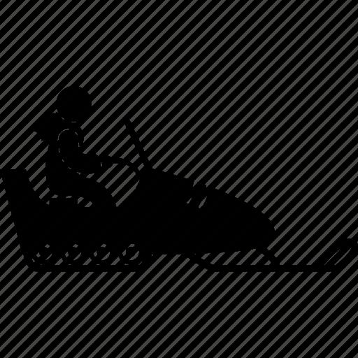 car, man, people, snow, snowmobile, vehicle, winter icon