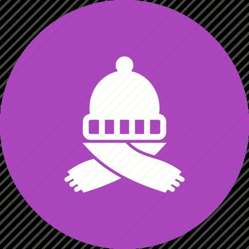 Cap, hat, scarf, warm, winter, wool, woolen icon - Download on Iconfinder