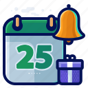 alert, bell, calendar, christmas, reminder icon