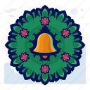 bell, christmas, decoration, door, wreath