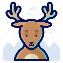 deer, reindeer, forest, animal, wildlife icon