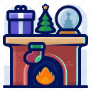 globe, christmas, fireplace, present, tree
