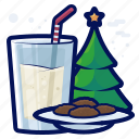milk, tree, drink, cookie, christmas, beverage