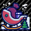 present, christmas, sleigh, santa, tree