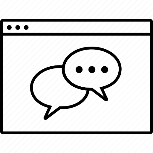 browser, bubble, chat, communication, message, web site, wireframe icon