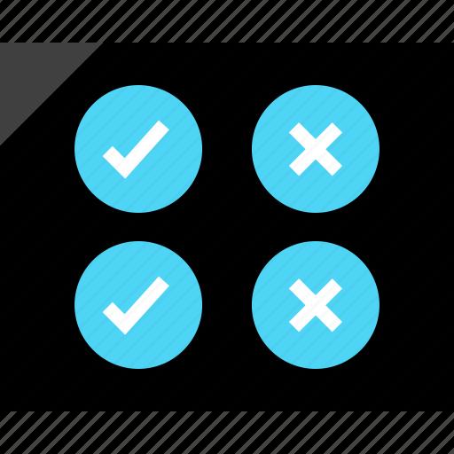 check, design, error, marks, two, wireframe icon