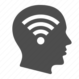 head, human, thinking, wifi, wireless icon