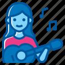 activity, guitar, instrument, lifestyle, music, sound, woman icon