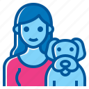 activity, dog, friendship, happiness, lifestyle, pet, woman icon