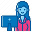 activity, computer, lifestyle, office, time, woman, working icon