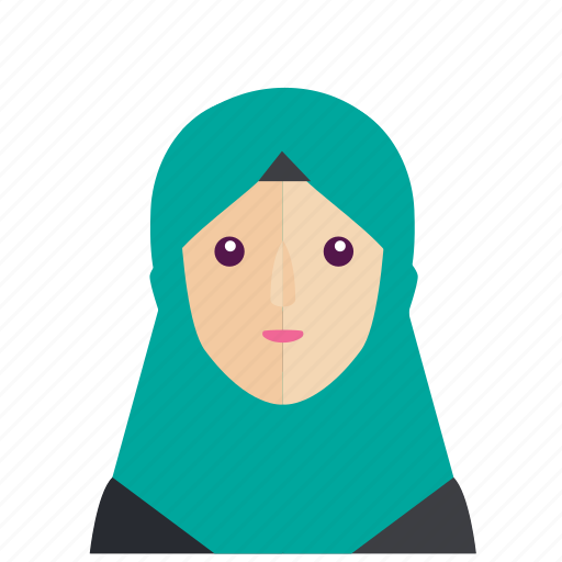 avatar, girl, head, moslem, smile, woman icon