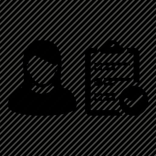 clipboard, female, list, person, task, todo, woman icon