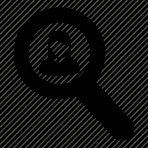 female, find, magnifier, person, profile, search, woman icon