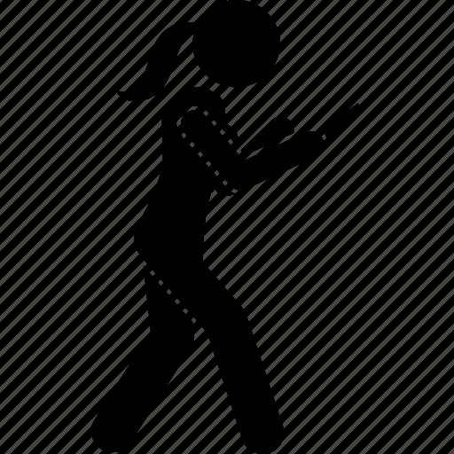 phone, smartphone, texting, using, walk, walking, woman icon