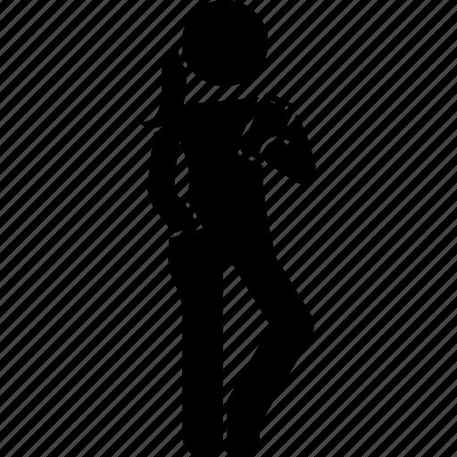 girl, phone, smartphone, standing, woman icon