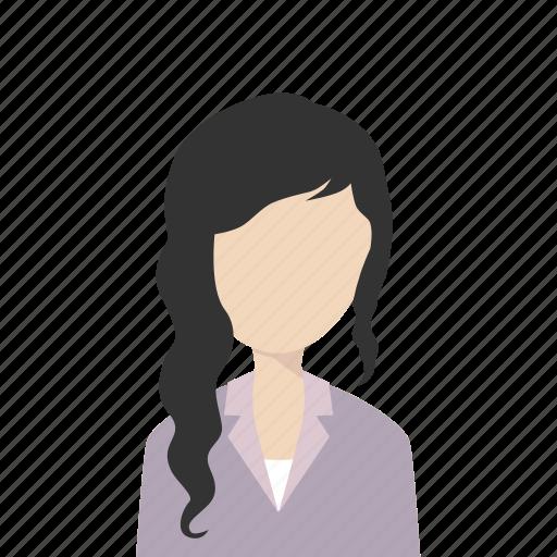 girl, longhair, suit, woman icon