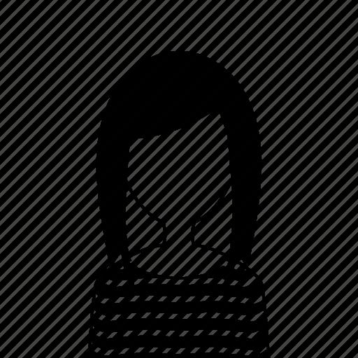 female, girl, sweater, user, woman icon