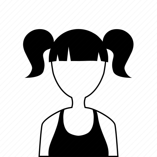 female, gilr, pigtails, t-shirt, user, woman icon