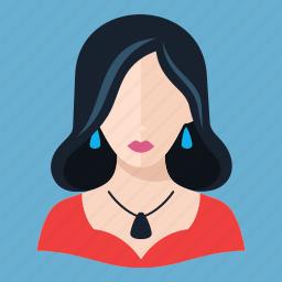 avatar, brunette, elegant woman icon