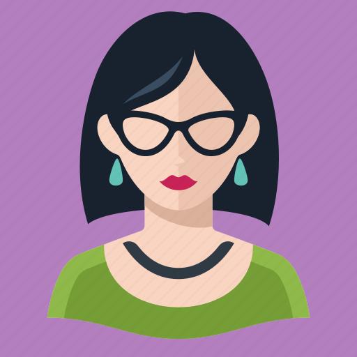 avatar, brunette, user, woman icon