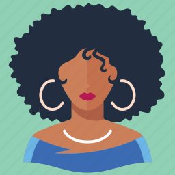 afro woman, avatar, user icon
