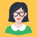 avatar, brunette, woman icon