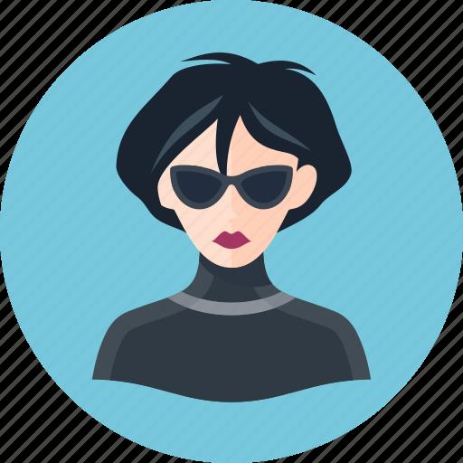 avatar, spy, woman icon