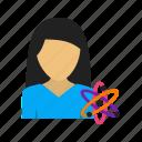 biotechnology, laboratory, medicine, science, scientific, student, woman icon
