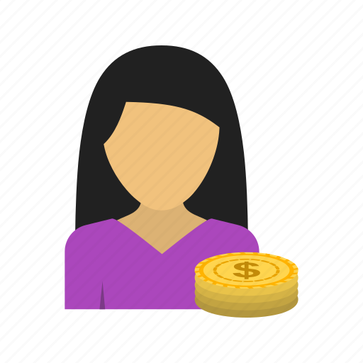 accountant, bills, calculator, finance, money, personal, woman icon