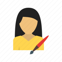 abstract, art, artist, gallery, tools, women, workshop icon