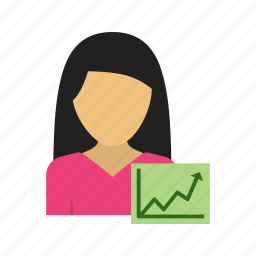 bar, business, data, graph, growth, marketing, women icon