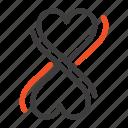 eight, heart, typography icon